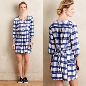 Maeve Devery Blue White Plaid Shirtdress Anthro